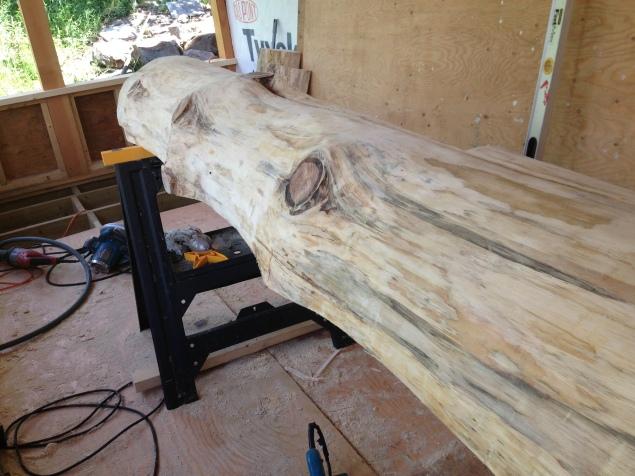 Debark and saw log in half